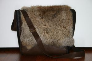 Leather and  fur shoulderbag by PrimalCraft