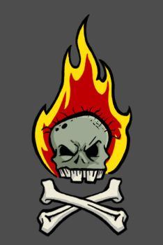 flaming zombie head by gadyariv