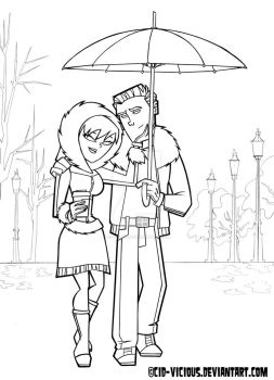 It's Raining - lineart by Cid-Vicious