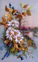 Autumn, ribbon embroidered picture. by TetianaKorobeinyk