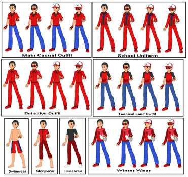 Neros's outfits in Detective Pikachu: Case Closed by DisneyBrony2012