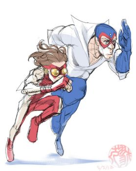 Bart and Max the speedsters rough sketch by Ricken-Art