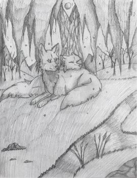 Under The Old Willow *Sketch* by Fireleopard03