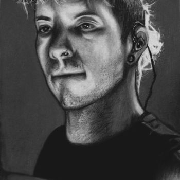 Josh Dun coloured drawing black and white by slowtown-ruby