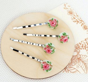Cherry blossoms. Hairpins with hand painted. by HappyGlassJewelryArt