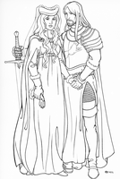 Lord Ned and Lady Cat, line art by Sigune