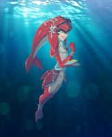 Mipha floating along by Kikoli