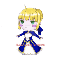 Chibi  Artoria Pendragon by blackrabbitartworks