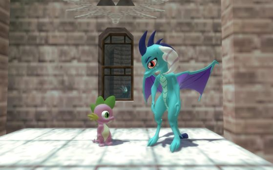 Ember and Spike In the Castle Courtyard Part 12 by Eli-J-Brony