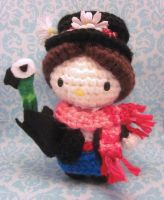 Mary Poppins Hello Kitty Amigurumi Crochet Doll by Spudsstitches