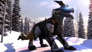 Mech Dragon In WInter by mestophales