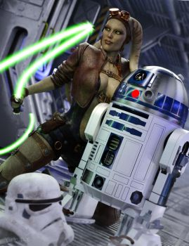 Hera and R2D2 by RawArt3d