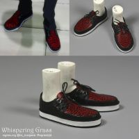 Laced shoes with red leopard patten by scargeear