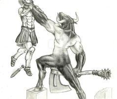 The attack of the minotaur by aguiaia