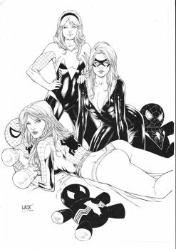 Mary Jane Gwen Stacy and Black Cat by Leomatos2014
