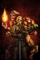 Mario, Link and Samus Painting by RyanLord