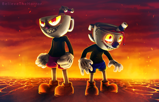 Cuphead and Mugman Wallpaper by BelieveTheHorror