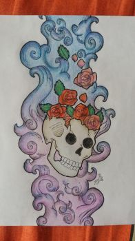 Skull with Roses by Decuca