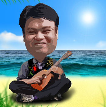 Cartoonized self caricature with a ukulele by ojneb12