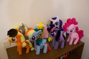 The Mane 6 plus Derpy plushies by EquestriaPaintings