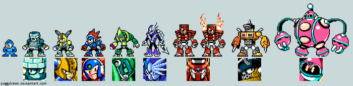 Mega Man 11 Robot Masters in 8 Bit!! by peggdraws