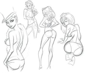 SKETCH: more warm up sketch gals by StephenBJones