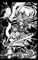 Thor and Sif inks by BDStevens