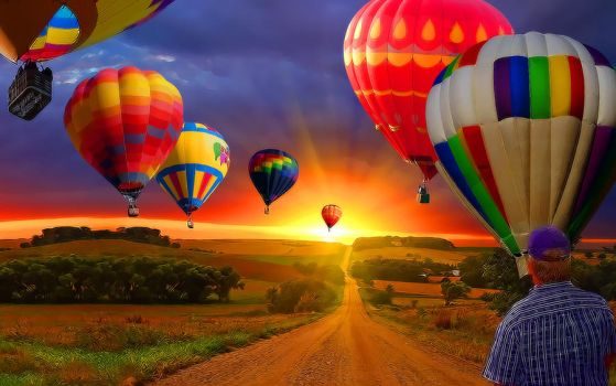 Country Road with Balloons by QuickColorado