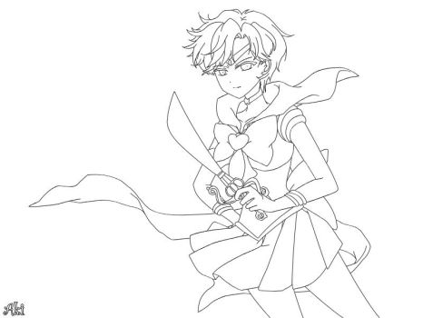 Sailor Uranus - lineart by AkiOrinoco