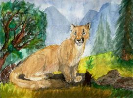 Watercolor Cougar by bumblefly