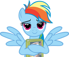 Rainbow Dash with her book - both wings by CrusierPL