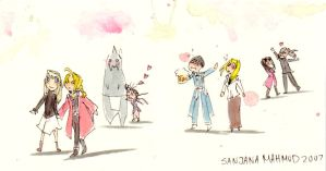 Manga Watercolour Doodle Crew by CeruleanSan