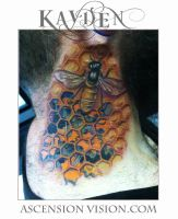 Mechanical Bee hive neck tattoo by kayden7