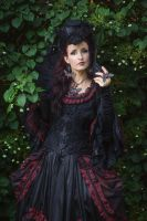 Stock - Baroque Lady  pose gothic black frontview by S-T-A-R-gazer