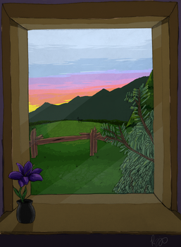 Window at Sunset by TheBookishWitch