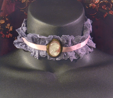 Ghostly Cameo Lavender Lace Choker by MorganCrone
