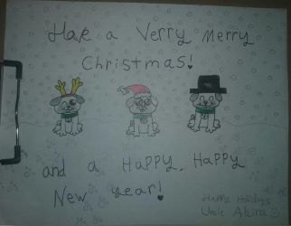 Happy Holidays!: Pugs for my Uncle by SonicTAlicorn