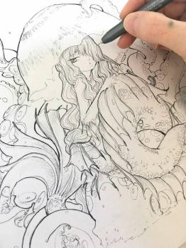 Inktober Mermaid in progress by camilladerrico