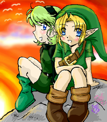 Sunset Saria and Linky-poo by eeveelover