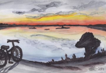 Sunset and a bicycle by winzrella