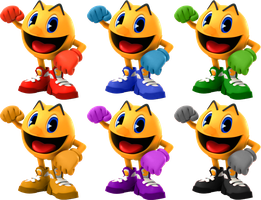 Pac-Man SSB4 Recolors by shadowgarion