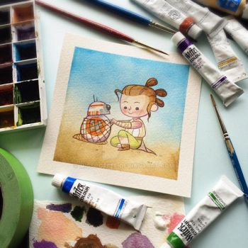 Rey and BB8 Watercolor Painting by Michelle Coffee by misscoffee