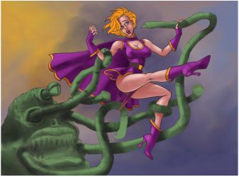 Superheroine and Tentacle Demon Redeux WIP by thefooltouchstone
