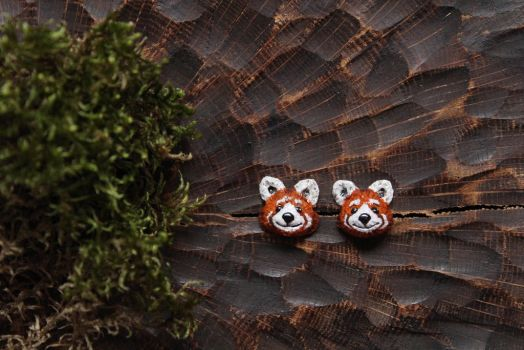 Red Panda Stud Earrings by Lavenderwitch