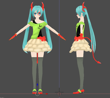 Finished Mesh - Koron DE:MONSTAR Hatsune Miku by xDreamShardsx