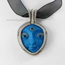 Blue Face Wire Wrapped Necklace by Gailavira