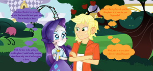 Applejack and Rarity's hangout in the garden. by hectorcabz
