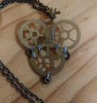 Heart-Shaped Clock Parts Pendant Necklace by Nibroc99