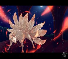 Burning fox by Ravoilie