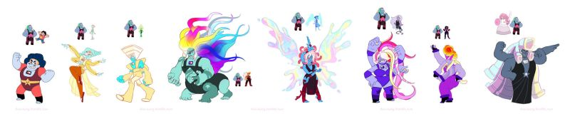 Steven Universe: Bismuth Fusions (added names) by dou-hong